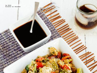 Teppanyaki de pollo y verduras con salsa Punzo. Receta