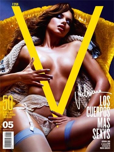 Adriana Lima espectacular casi desnuda en la portada de la revista V. ¿Más moda?