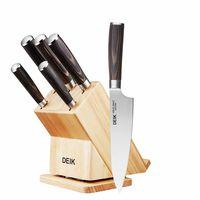Cupón de descuento de 24 euros en el set de cuchillos de cocina Deik con soporte de madera: aplicándolo se queda en 25,99 euros