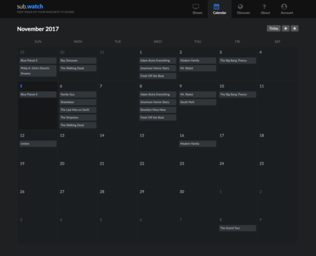 Subwatch Calendario