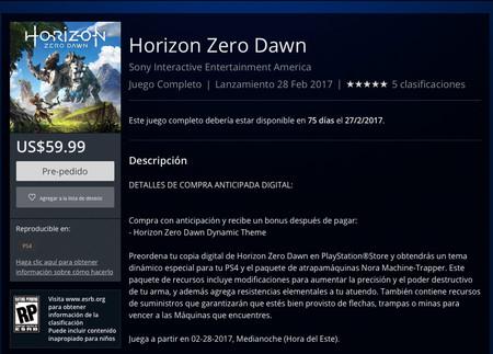 Horizon Zero Dawn Psn