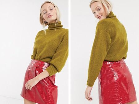 Minifalda De Efecto Cuero Estilo Cocodrilo Con Cinturon De Tachuelas De Asos Design