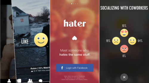 Hater, porque odiar las mismas cosas también une mucho esta app puede ser el próximo Tinder