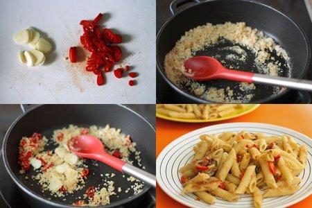 Receta de pasta al pangrattato. Pasos