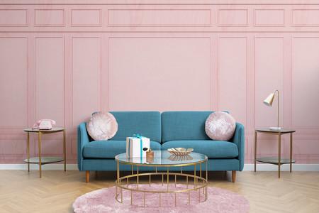 Papel Pintado Molduras Rectangulares Rosa Horizontal Lifestyle Web