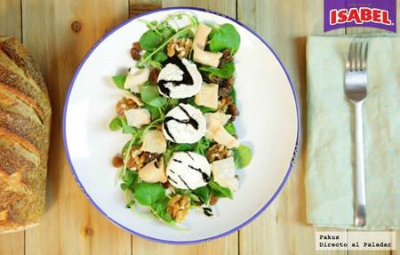 Ensalada de queso de cabra, atún Isabel y canónigos con reducción de PX [videoreceta]