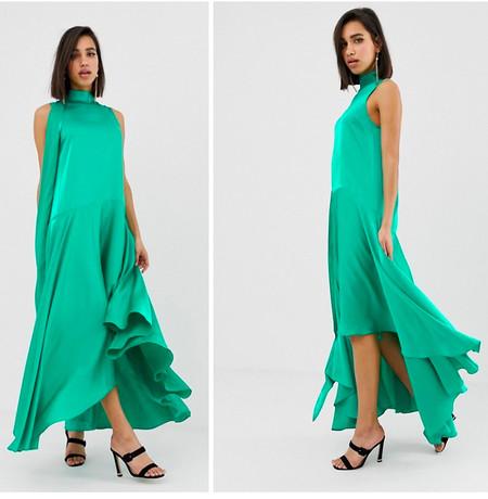 Vestido Largo Saten Verde