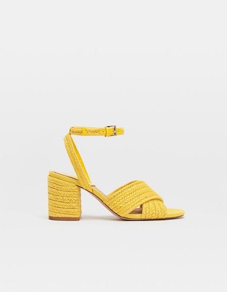 Sandalias tacón rafia amarillas