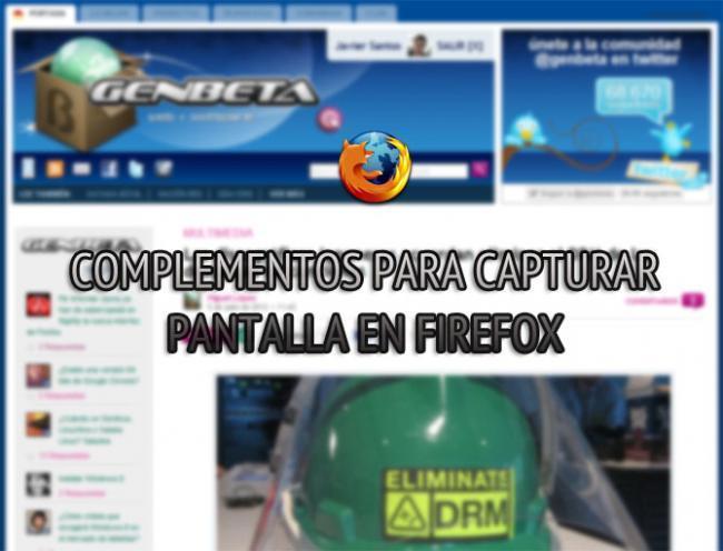 Complementos para capturar pantalla en Firefox.