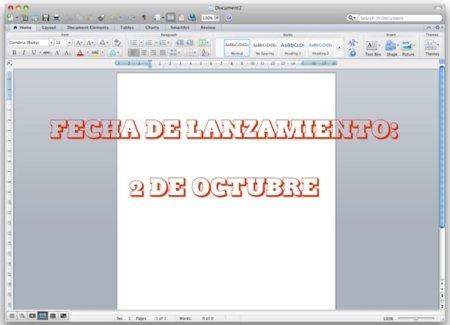 Microsoft Office 2011 para Mac OS X ya tiene fecha de lanzamiento: 2 de octubre