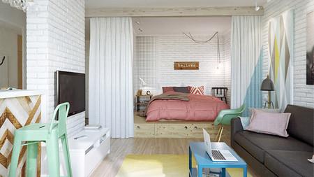 Salón dormitorio y cocina de estilo moderno y colorido