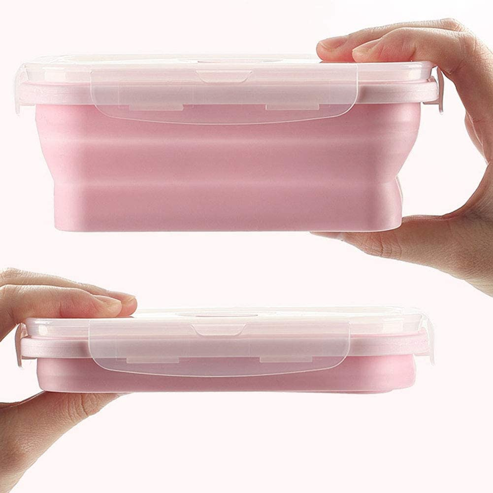 SaraCloth Fiambrera de silicona plegable para almacenamiento de alimentos en campamentos, 3 unidade(Rosado)