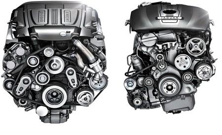 Motores Jaguar 3.0 V6 con compresor (izda) y 2.0 Turbo L4 (dcha)