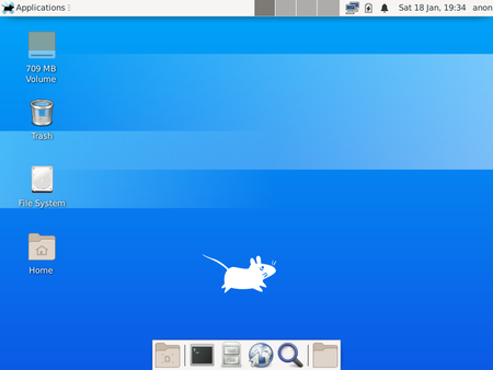 This is the desktop of the XFCE version of Void Linux that is run from a LiveCD