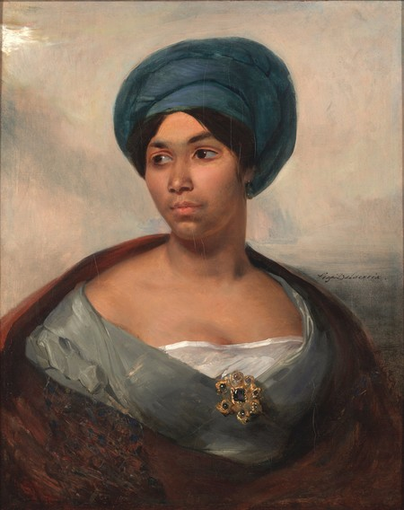 Portrait Of A Woman In A Blue Turban By Eugene