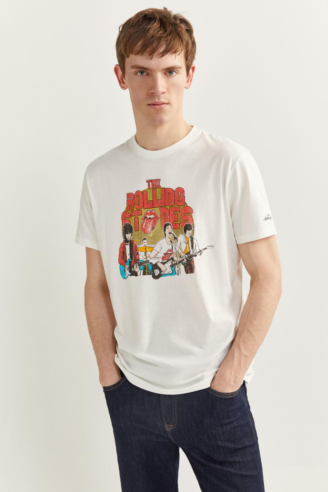 Camiseta manga corta regular fit con estampado de ROLLING STONES.