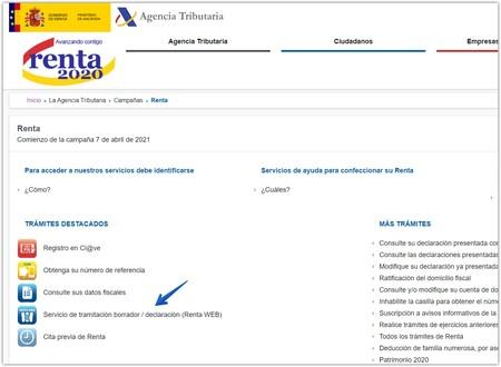 Web Renta 2020 de la Agencia Tributaria