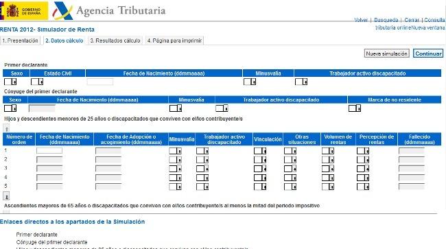 Disponible el simulador del IRPF 2012 de la Agencia Tributaria