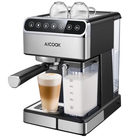 Cupón de descuento de 50 euros en la cafetera de 15 bares de presión Aicook. Tras aplicarlo se queda en 89,99 euros en Amazon