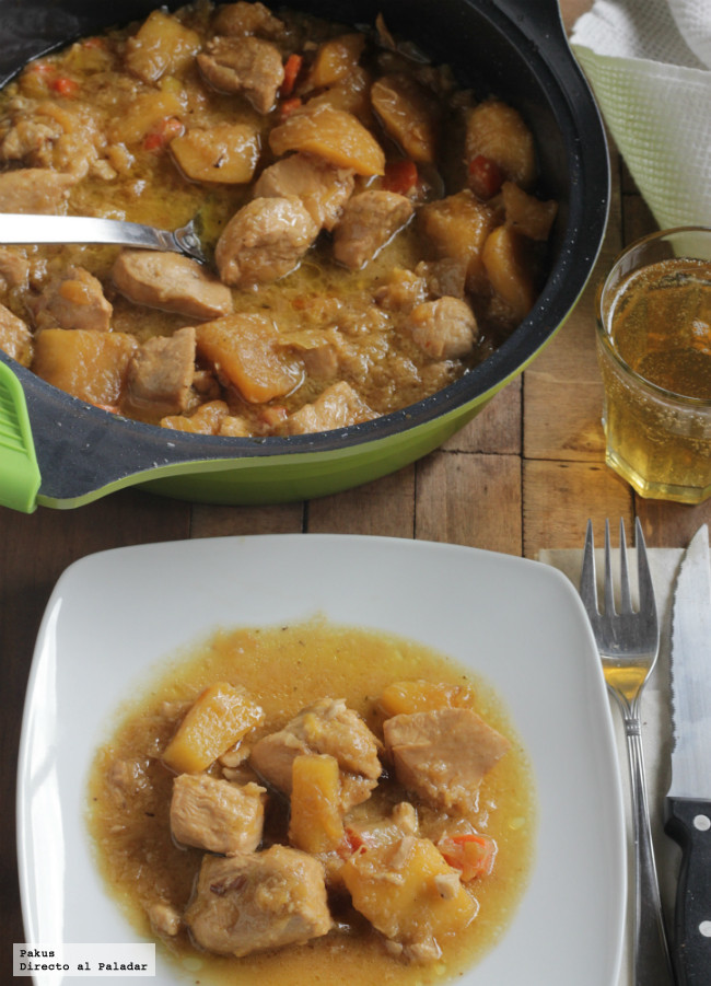 Guiso de pollo con sabor oriental. Receta