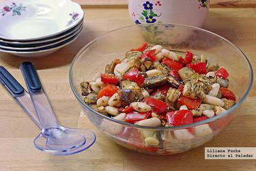 Ensalada templada de alubias blancas con hortalizas asadas. Receta