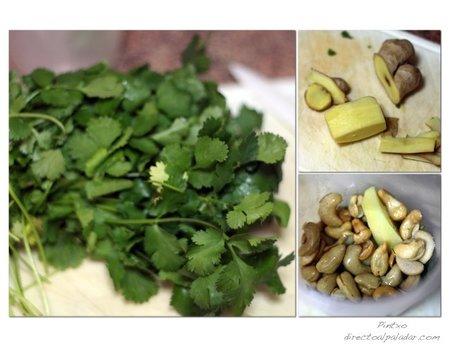 Pesto de jengibre y cilantro