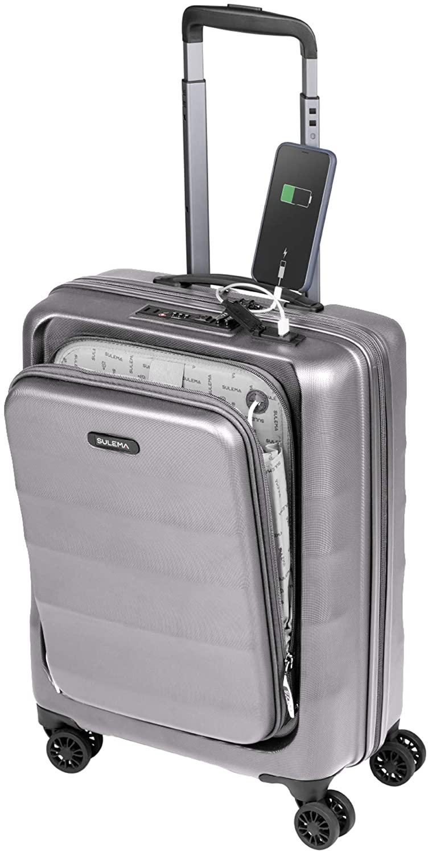Maletas de Cabina 55x40x20 con USB de Carga Equipaje de Mano Trolley rigida 4 Ruedas giratorias 360º candado TSA Maleta Grande Resistente Ryanair, Sulema (Gris)