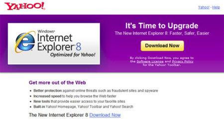 Página de descarga de Internet Explorer 8 desde Yahoo
