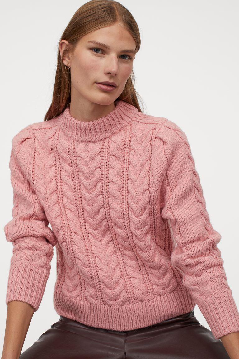 Jersey en punto trenzado rosa empolvado