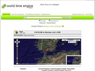 World Time Engine, comparaciones horarias mundiales