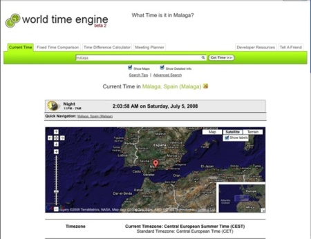 World Time Engine, comparaciones horarias mundiales