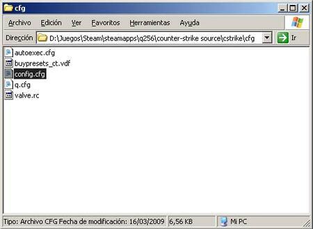 Localizando el archivo config.cfg