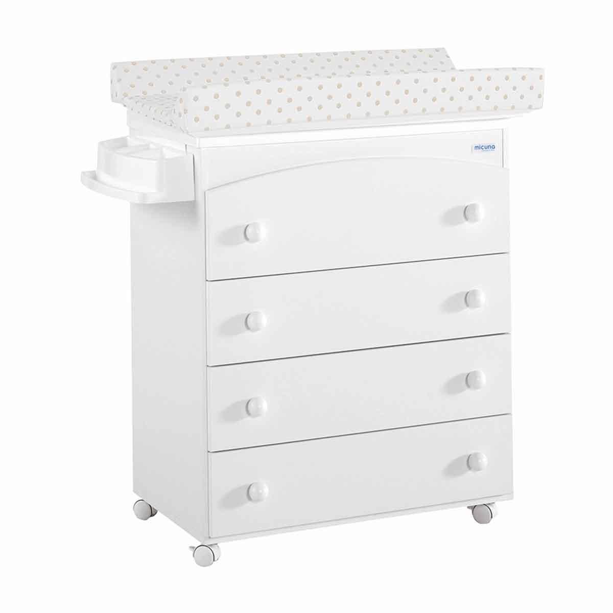 Mueble Bañera/Cambiador Micuna blanco/Lunares beige