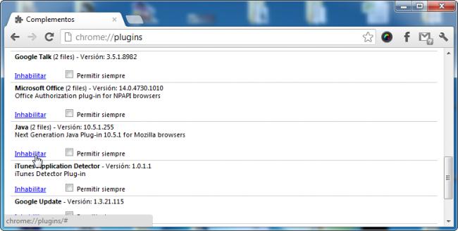 Desactivar Java en Chrome