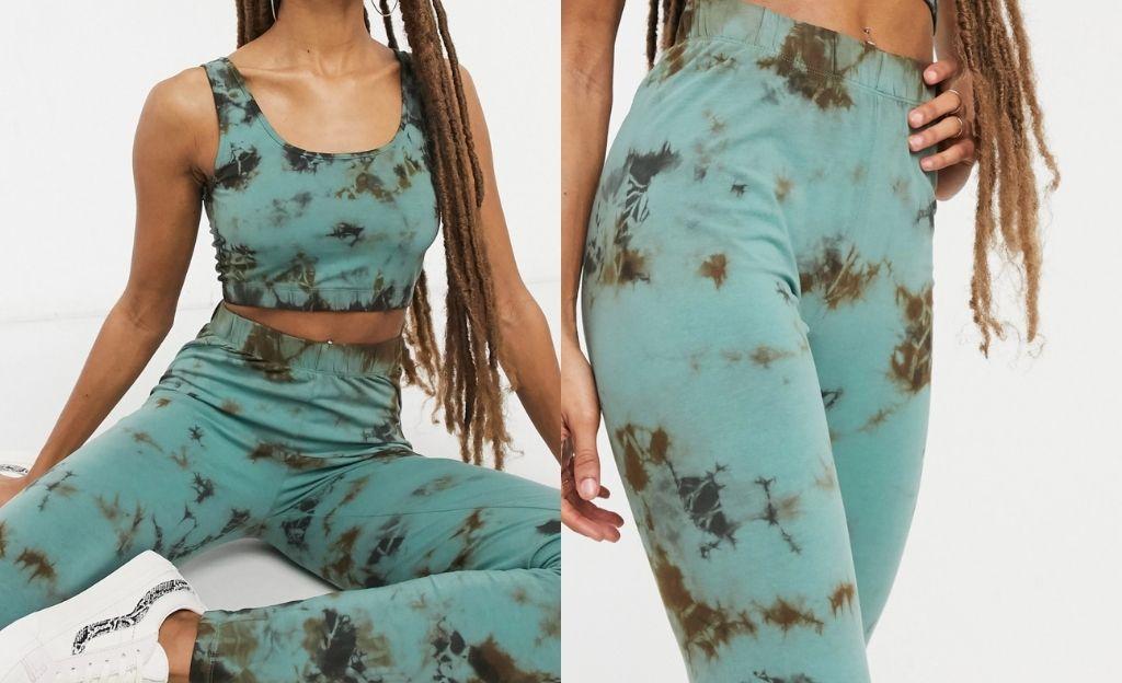 Leggings verdes y negros efecto tie dye exclusivos de Noisy May