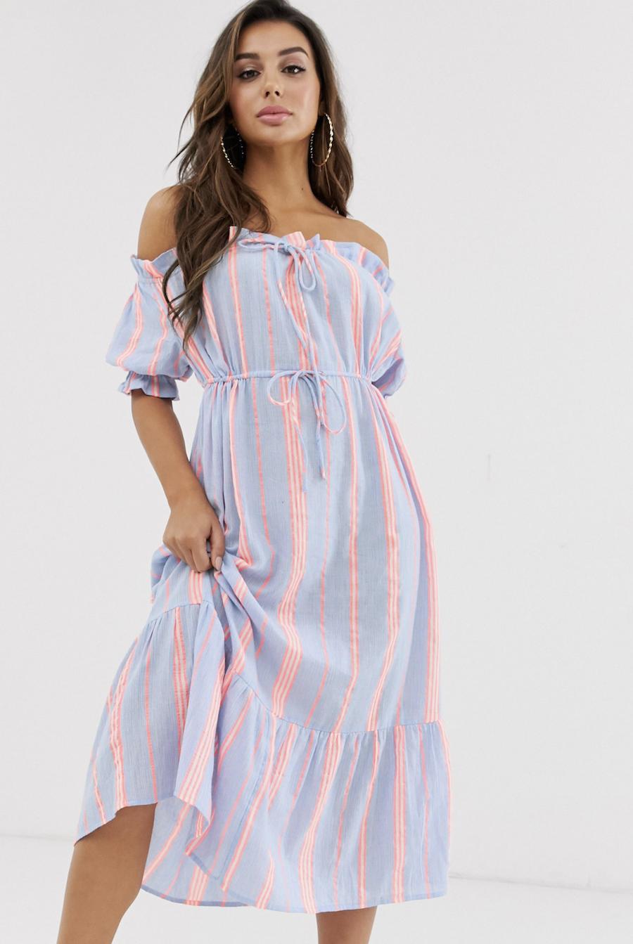 Vestido largo de playa a capas con escote Bardot y rayas neón flash de ASOS DESIGN