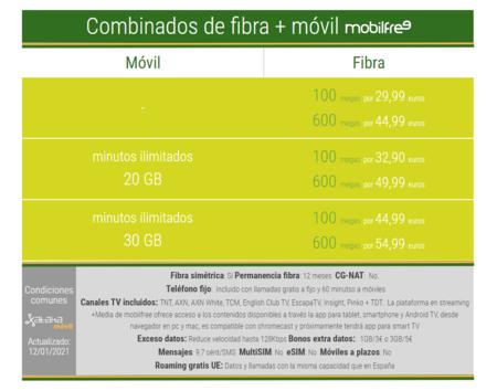 Nuevos Combinados De Fibra Y Movil Mobilfree En 2021