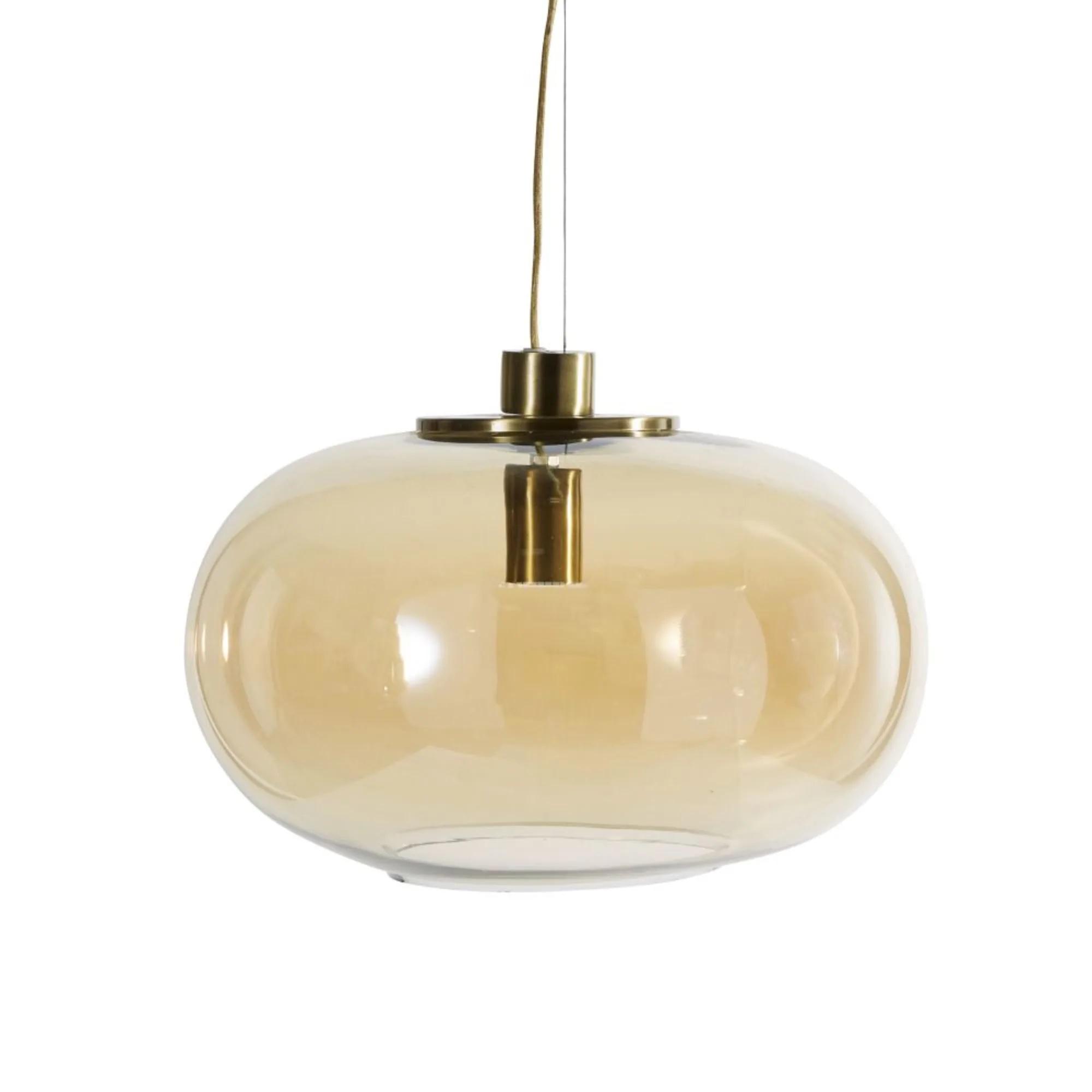 Lámpara de techo de cristal tintado ámbar y metal dorado.