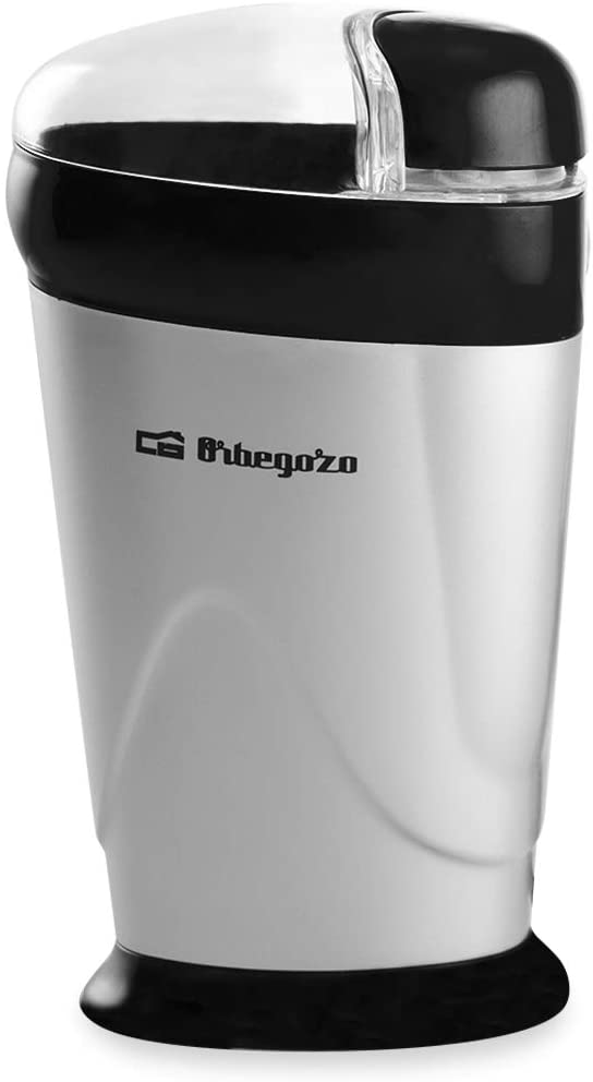 Orbegozo MO 3250 - Molinillo de Café, Cuchilla de Acero Inoxidable, Interruptor de Seguridad, Tapa Transparente, 150 W, Negro