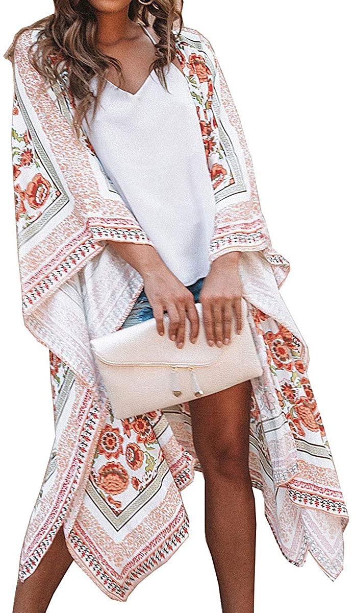 ECOMBOS Kimono largo para mujer con diseño floral, de gasa, para la playa, para verano, blusa, top, traje de playa, cubierta para bikini, ligera, estilo bohemio