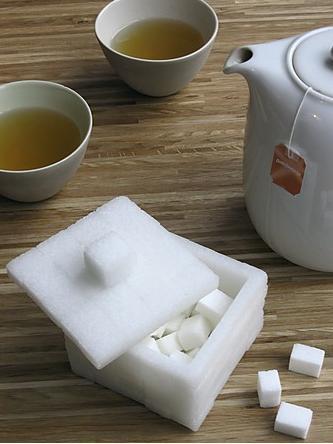 Azucarero con forma de terrón de azúcar