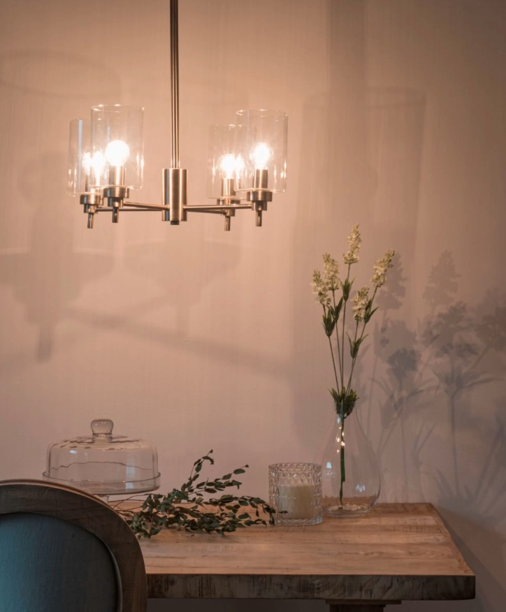 Lámpara de techo con 4 ramas de metal cromado y pantalla de cristal Elena