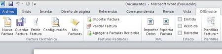 OffInvoice, complemento para realizar la facturación electrónica desde MS Office 2010