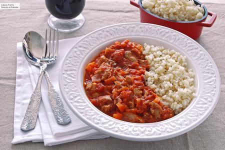 Receta de pavo con tomate guisado en cocotte al horno