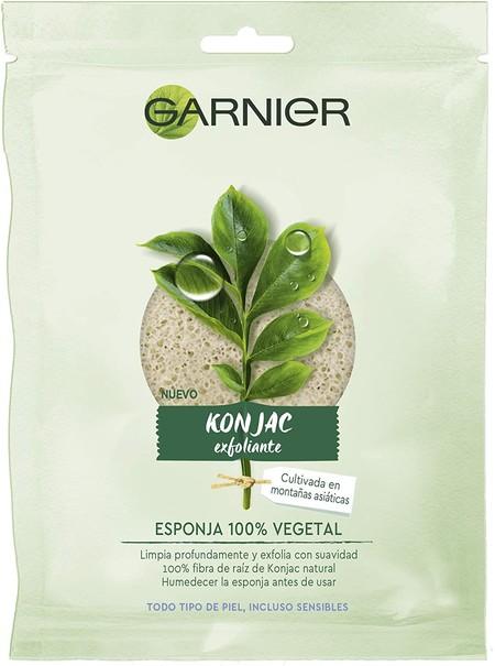 Garnier BIO Esponja Exfoliante Limpiadora de Konjac Natural 100% Vegetal, apta para Pieles Sensibles