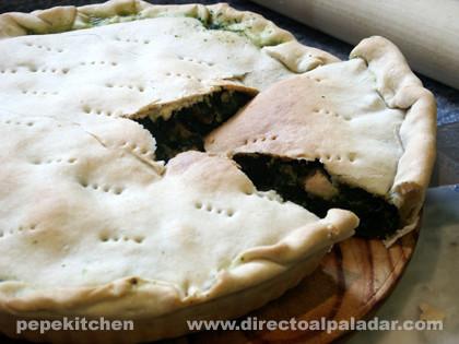 Torta de espinacas y parmesano. Receta italiana