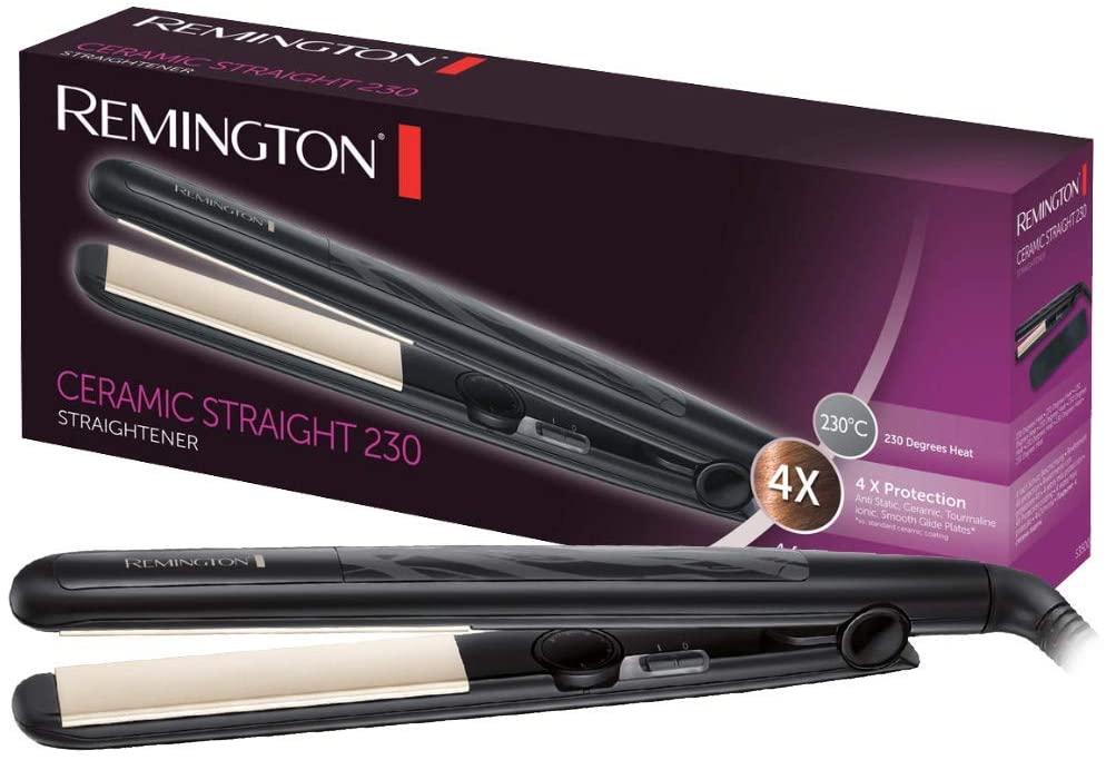 Remington Ceramic Slim Plancha de Pelo - Cerámica Anti-estática, Protección y Brillo, Placas Extra Largas, Negro - S3500