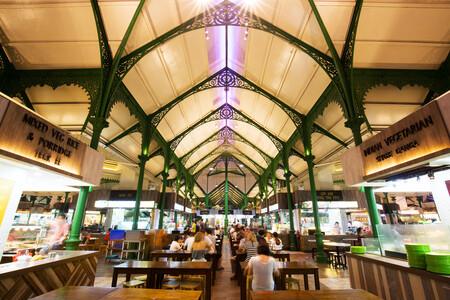 Puestos comida Hawkers Singapur