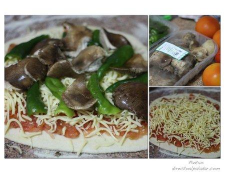 Pizza de setas de cardo y pimientos de guernica. Pasos