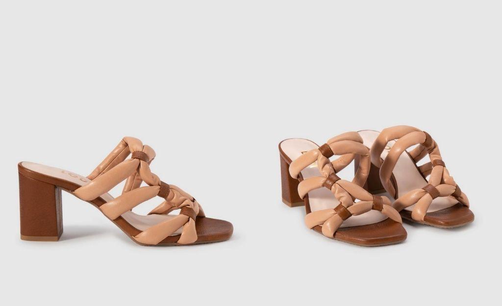 Sandalias de tacón de mujer Lodi de piel en color natural